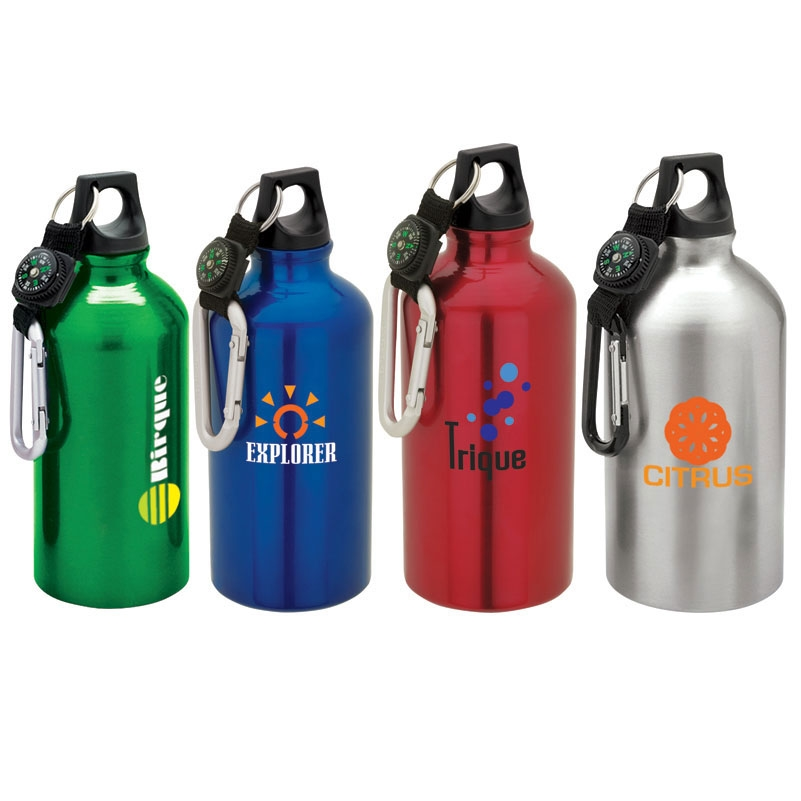 16.9 Oz. Aluminum Sport Flask Bottle w/ Carabiner Top & Compass