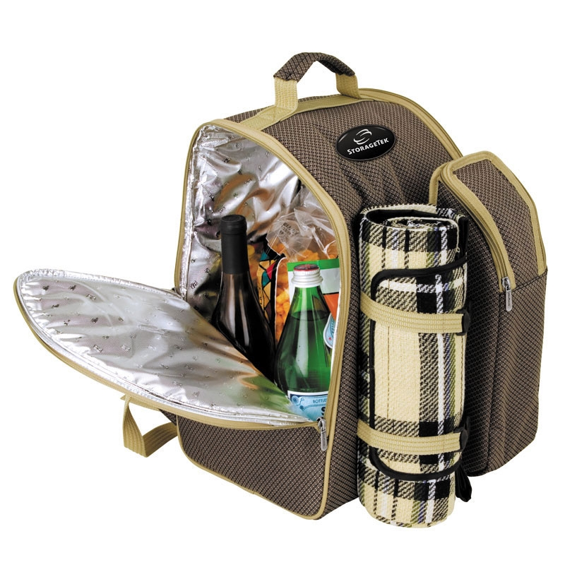 Picnic Basket Backpack Two : Person picnic backpack set logo branded items
