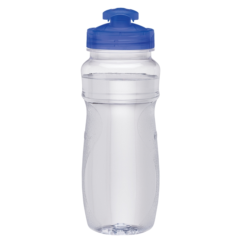 24 Oz Pet Clear Water Bottle W Colored Lids Logo
