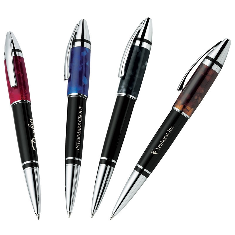 Bettoni Collection Twist Action Ballpoint Pen w/ Colorful Marbled Resin Cap