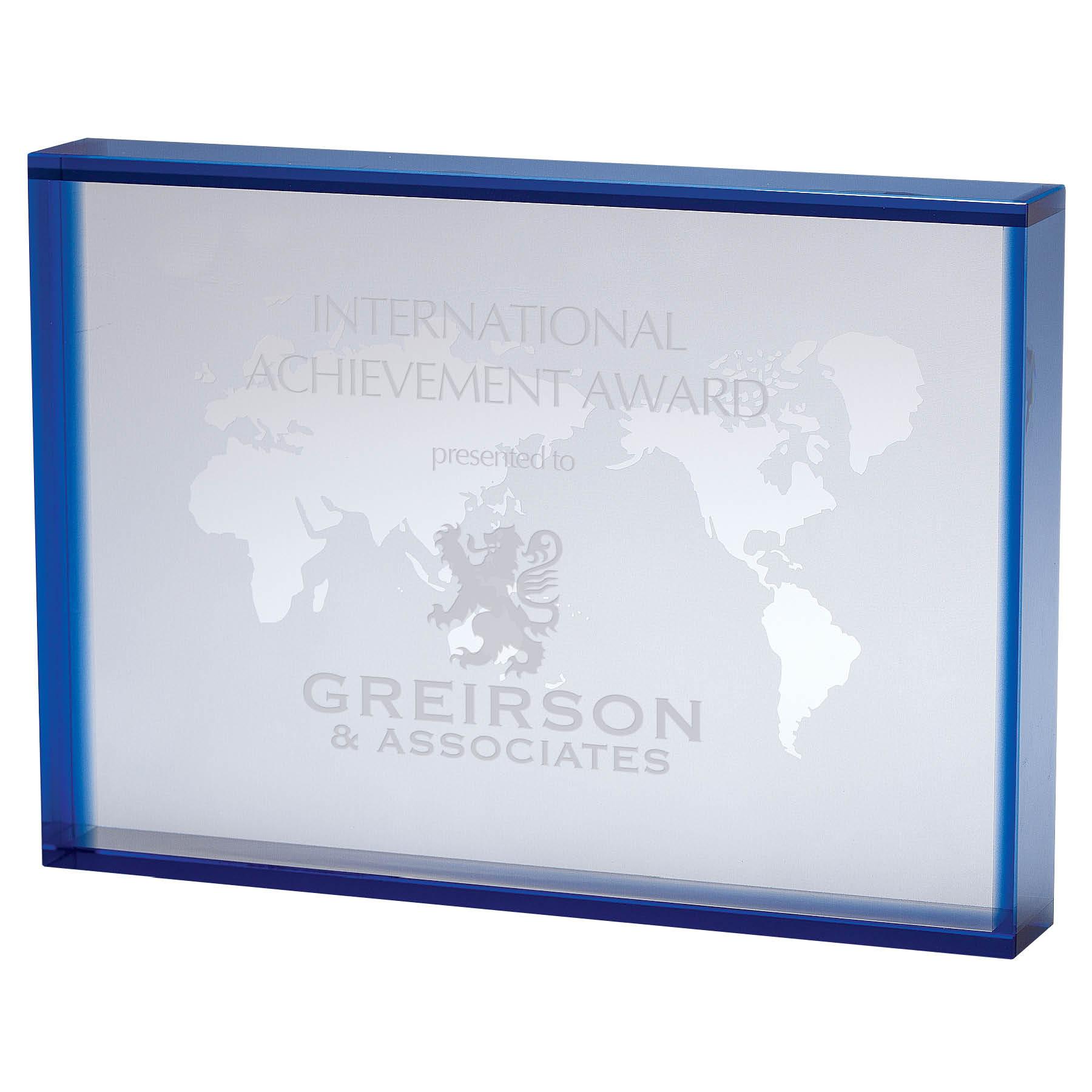Crystal Rectangular World Map Award