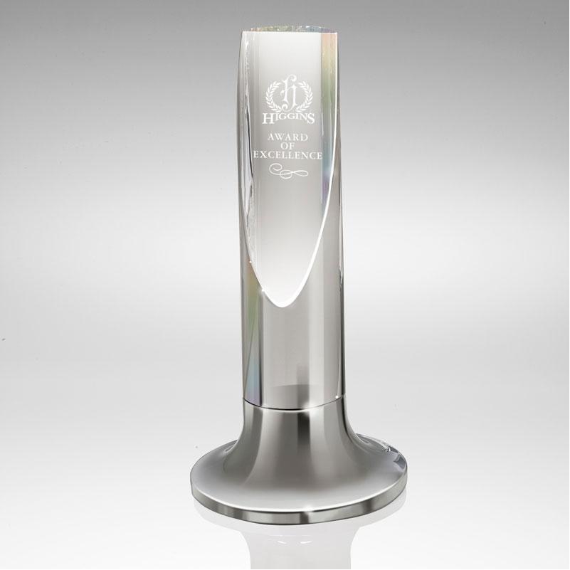 Diagonal Cut Silver & Crystal Cylinder Award
