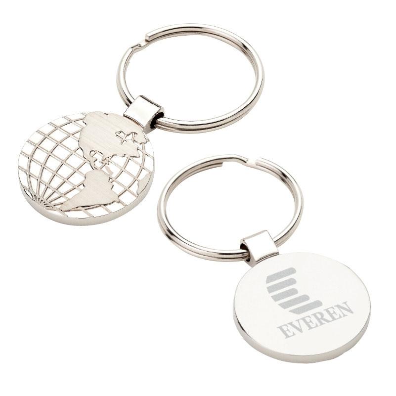 Matte & Shiny World Map Design Key Ring