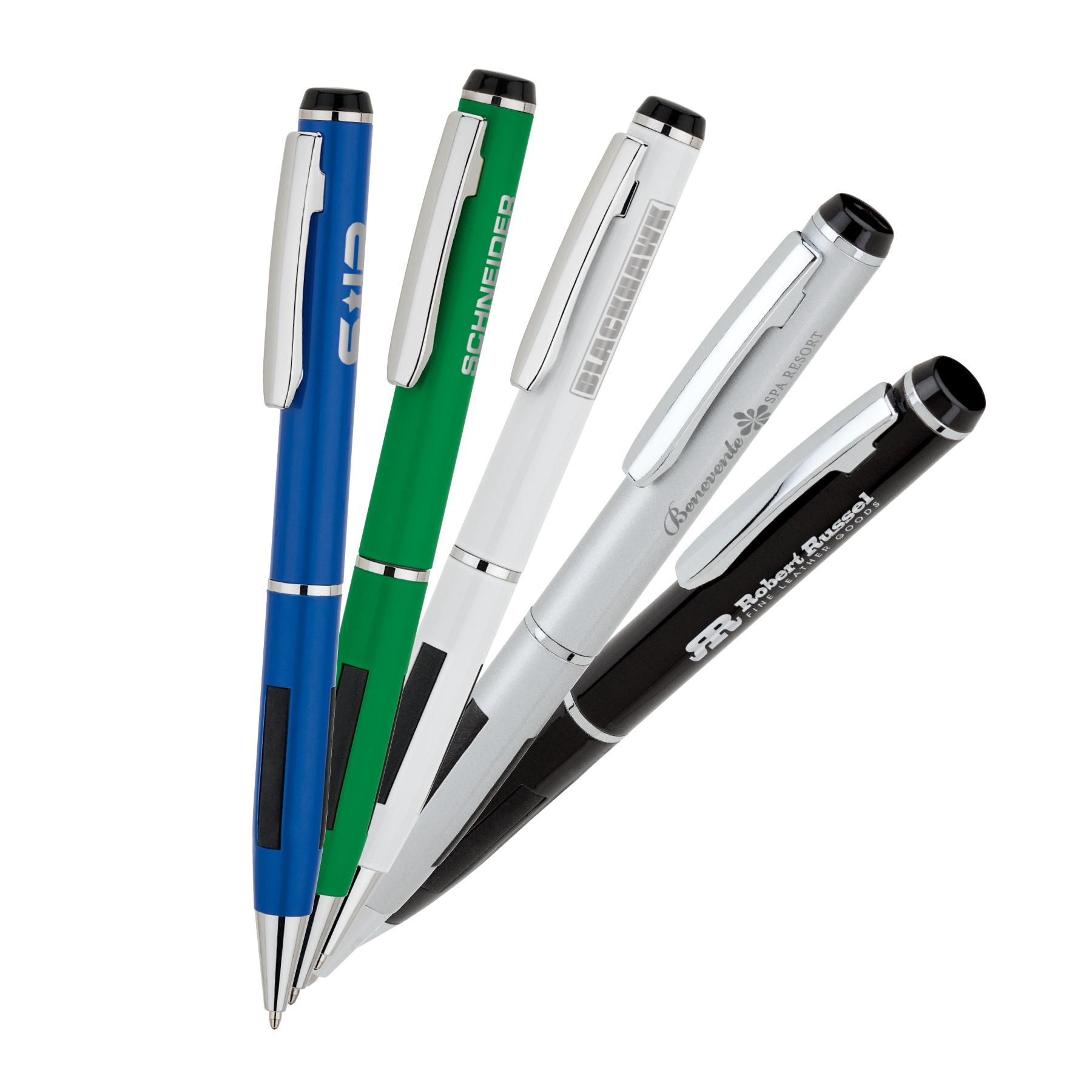 Metal Ballpoint Pen w/ Rubber Grip Accents