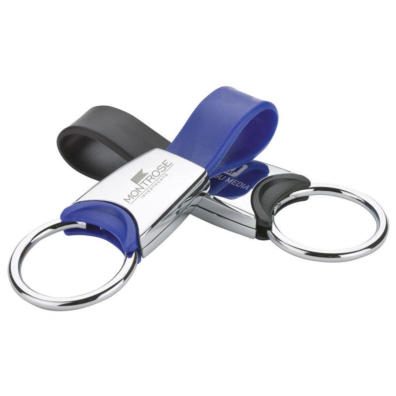 Metal Key Ring w/ Silicone Strap