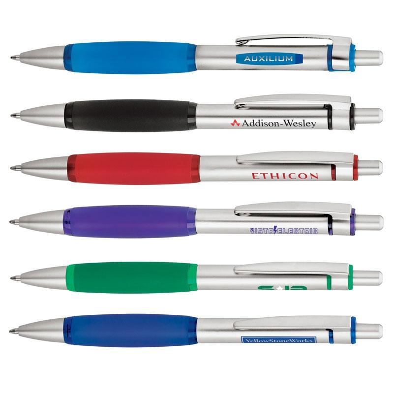 Slim Top Ballpoint Pen w/ Large Rubber Grip