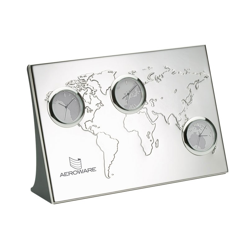 3 Time Zone World Clock w/Debossed Map