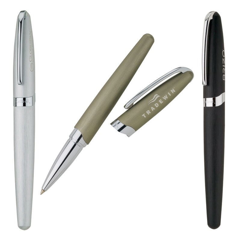 Lucia Bettoni Collection Brushed Aluminum Finish Roller Ball Pen