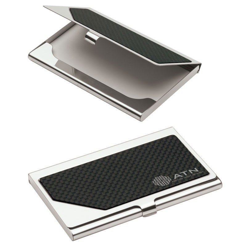 Metal Business Card Case w/Carbon Fiber Insert
