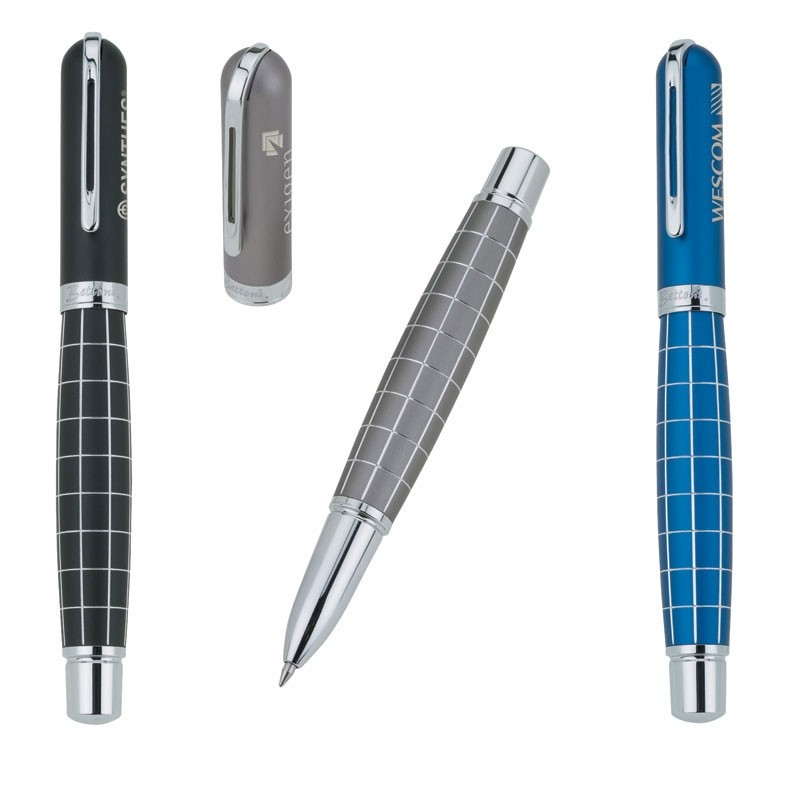 Valerio Bettoni Collection Roller Ball Pen w/Anodized Etched Grid Design