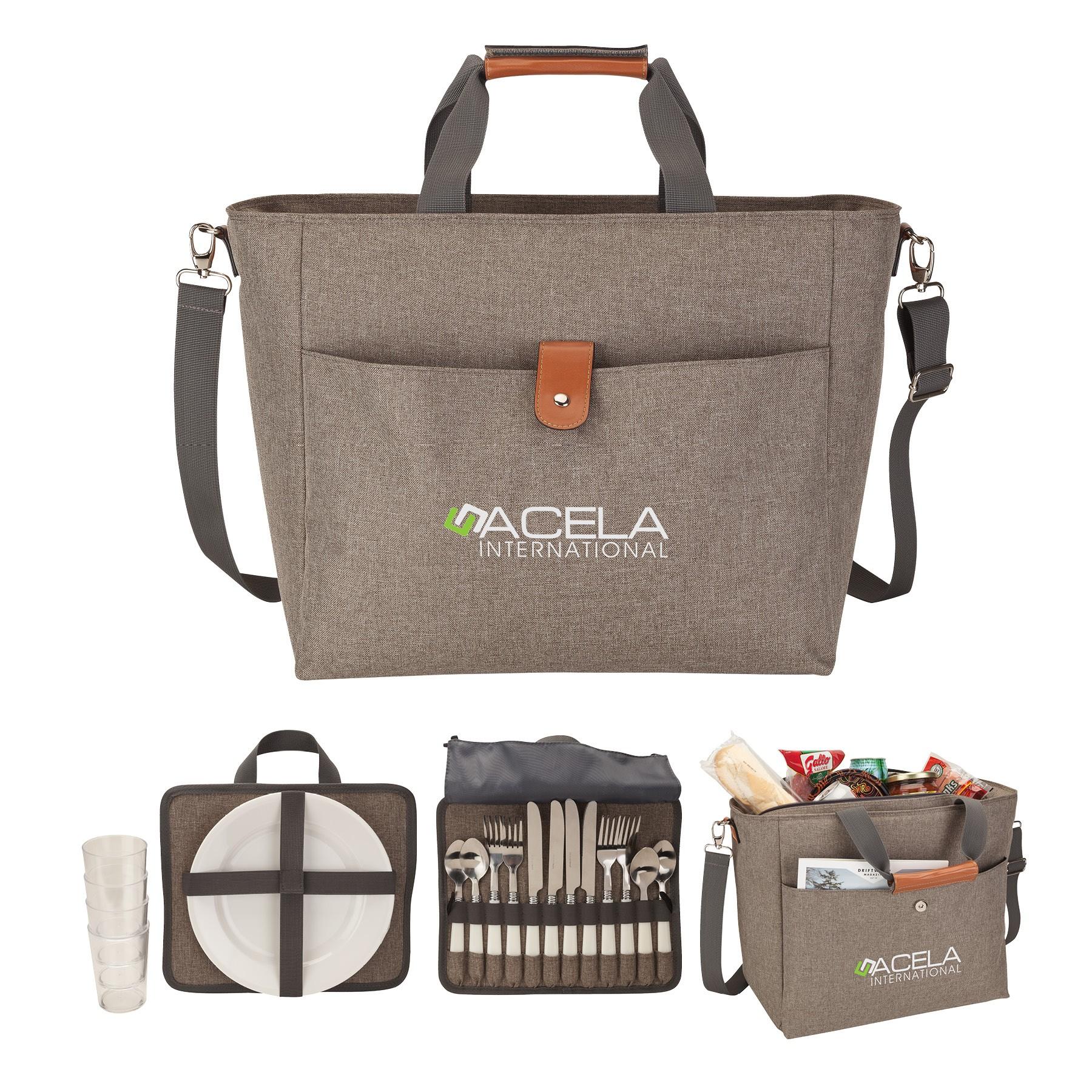 Del Mar 4 Person Picnic Carry Set & Cooler Tote Bag