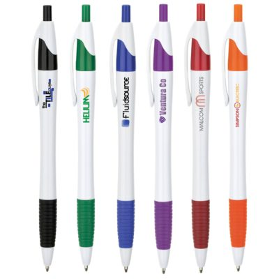 Hourglass Barrel Ballpoint Pen w/ Colored Accents and Full Color Imprint