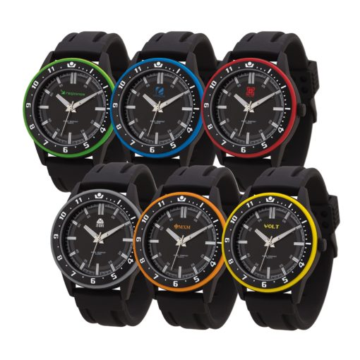 Watch Creations Unisex Watch w/Rubber Strap & Colored Bezel Ring