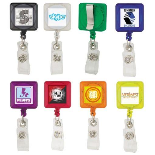 Square Retractable Badge Holder w/ Standard Clip