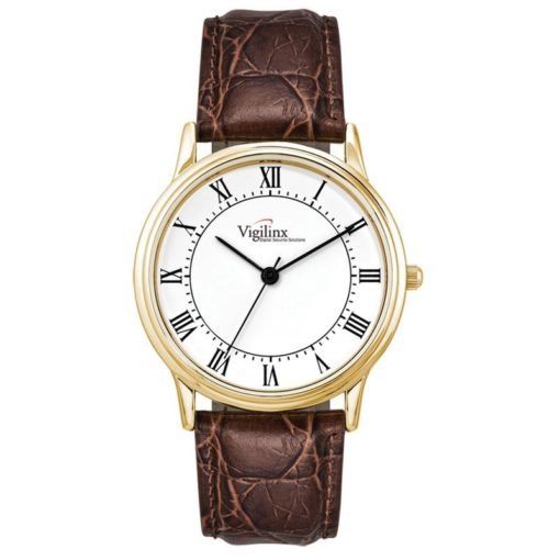 Watch Creations Men's Gold Finish Watch w/Roman Numerals & Leather Strap