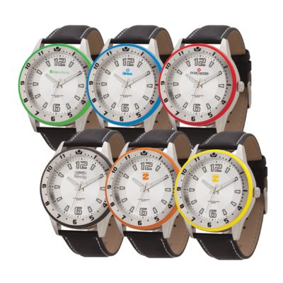 Watch Creations Unisex Watch w/Leather Strap & Colored Bezel Ring