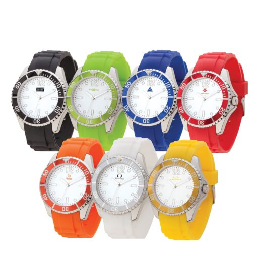 Watch Creations Unisex Watch w/Rubber Strap & Colored Rotating Bezel