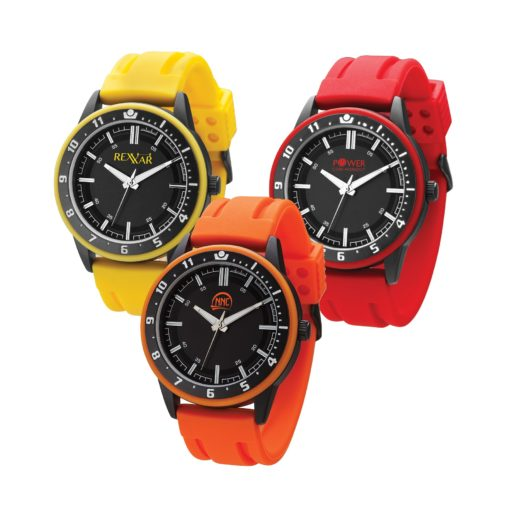 Watch Creations Unisex Watch w/Rubber Strap & Matching Colored Bezel Ring
