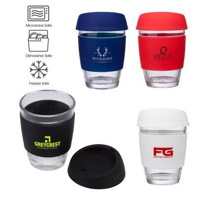 Rizzo Perka 12 oz. Glass Mug w/ Silicone Grip & Lid