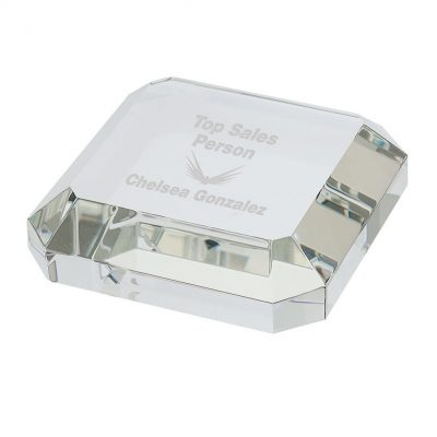 Taranto Square Crystal Paperweight