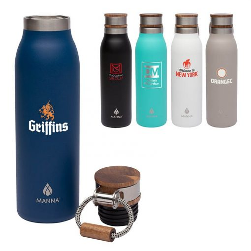 Manna Ascend 18 oz. Stainless Steel Water Bottle w/ Acacia Lid