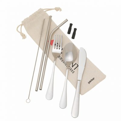 Perka Castellana 8-Piece Steel Straw & Utensil Set