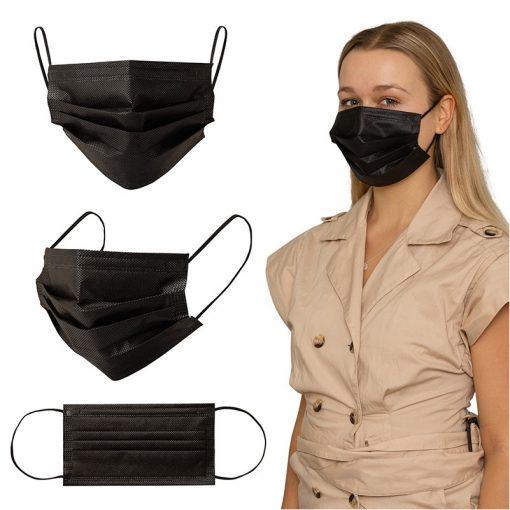 Shield III Box of 50pcs Black Disposable Face Masks