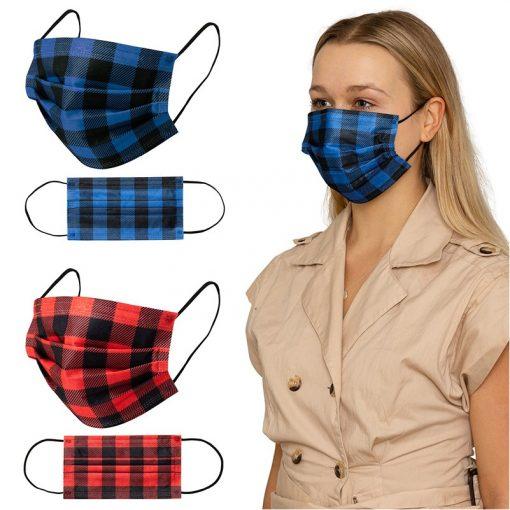 Shield IV Box of 50pcs Plaid Disposable Face Masks