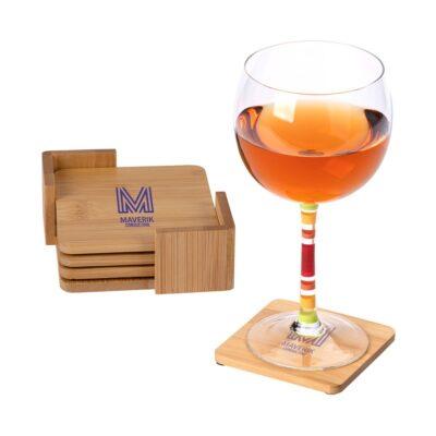 Brandon IV 4-Piece Bamboo Coaster Set